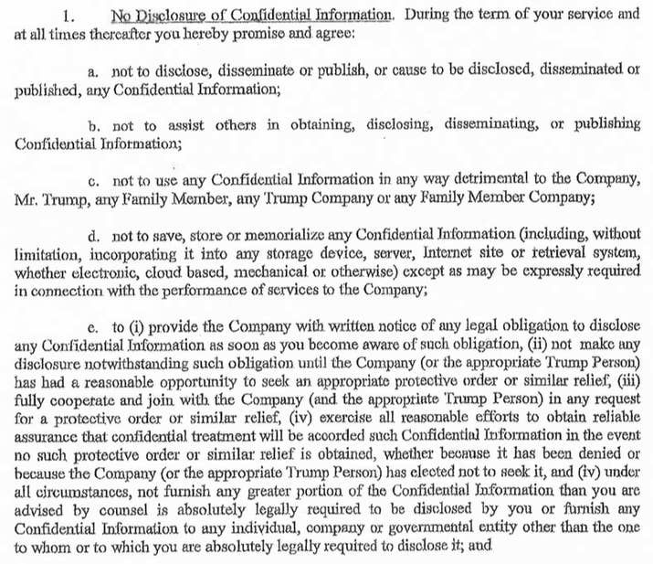Here is the confidentiality agreement signed by a former trump here is a former trump staffers confidentiality agreement platinumwayz