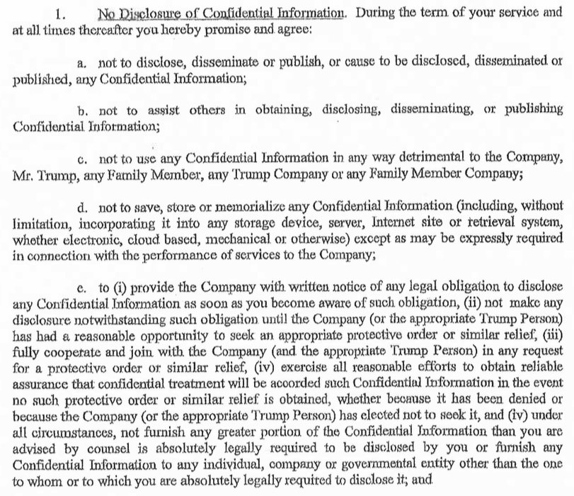 Here Is A Former Trump Stafferu0027s Confidentiality Agreement: