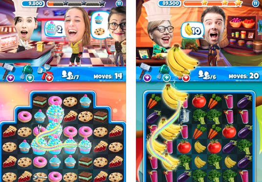 This game has you swiping matching cupcakes and bananas to serve your customers. Crazy Kitchen features foods from around the world — and you can even add photos of your friends and pets as characters.
