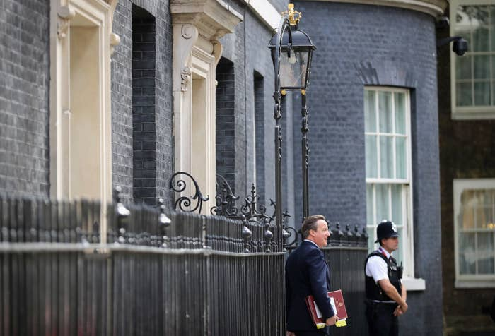 David Cameron leaving 10 Downing Street to attend his final Prime Minister's Questions.