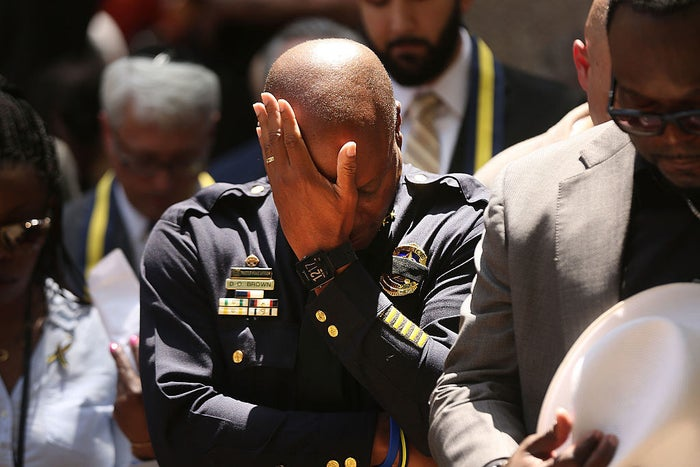 Dallas Police Chief David Brown pauses at a prayer vigil following the deaths of five police officers during a Black Lives Matter march on July 8 in Dallas.