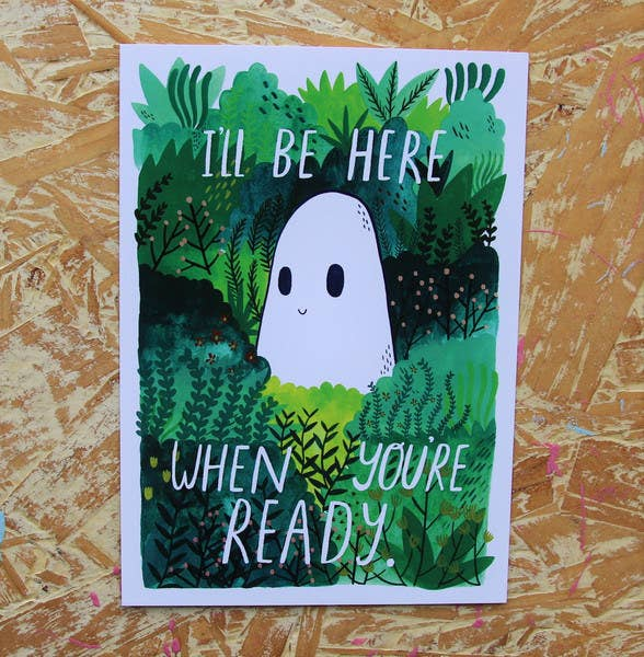 The Quiet Place is a lovely and soothing website that offers a quiet space to reflect, and catch your breath. You'll need headphones, FYI but it's worth it. Image (and postcard for sale!) via Sad Ghost Club.
