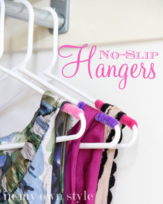Prevent any annoying clothes hanger slippage by wrapping your hangers with pipe cleaners.