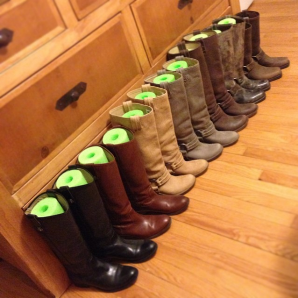 Cut dollar store pool noodles into quarters to keep your boots upright in the floor of your closet.