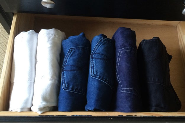Fold all of your the clothes you store in your drawers according to the KonMari method.