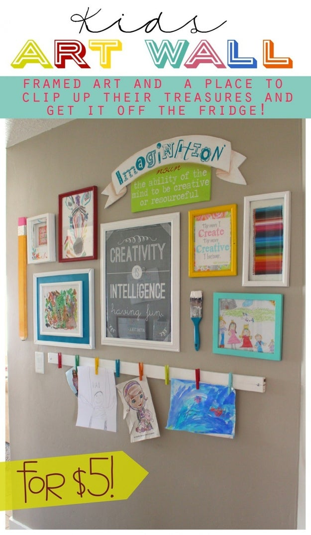 Then make an art wall, so they have someplace to hang all of their creations.