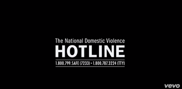 At the end of the video, there was even information about how to call the National Domestic Violence Hotline.