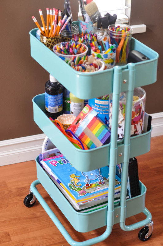 Or if your kids have just too many craft supplies to handle, corral them all in a Raskog utility cart.