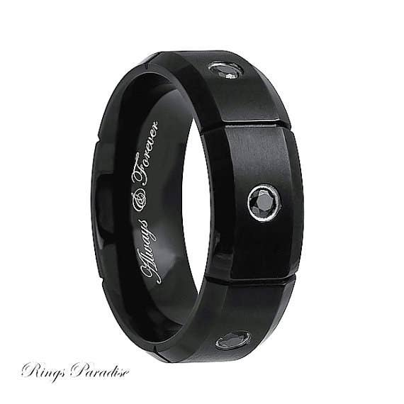 black diamond ring 168 - Black Wedding Rings For Men
