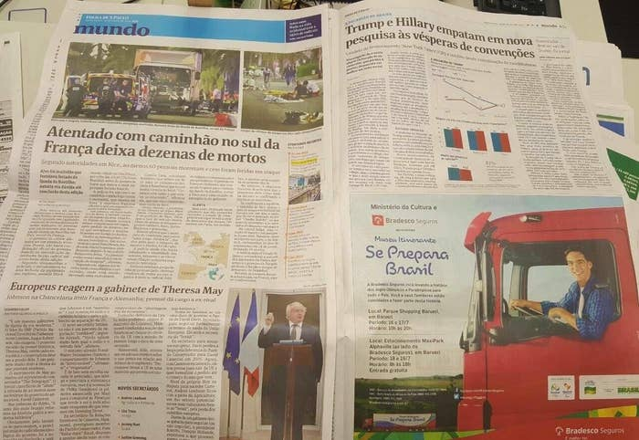 """The ad, which features a large truck, reads """"Get Ready Brazil"""" and is RIGHT next to a piece on the attack in Nice on Thursday night —in which a truck was driven into a crowd of people — that killed 84 people."""