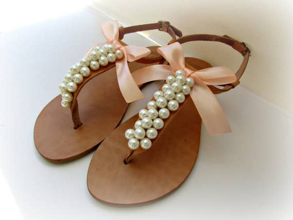 a735c90b7324f Pearl and Leather Sandals. Get them from Dada Handmade on Etsy for  65.86.