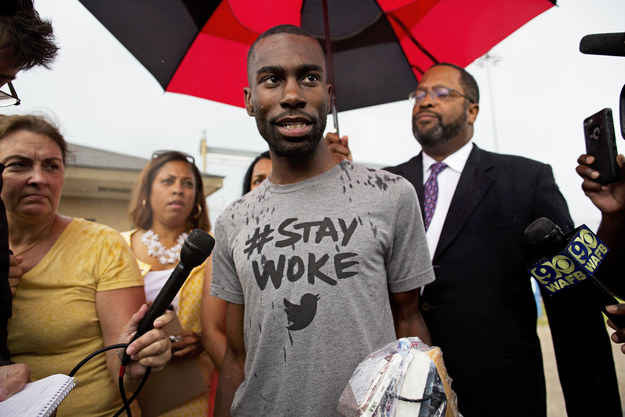 Black Lives Matter activist DeRay Mckesson talks to the media after his release from the Baton Rouge jail in Baton Rouge, Louisiana.