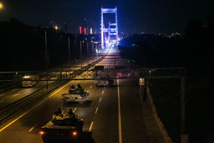 Tanks crossed the Fatih Sutan mehmet bridge, which separates the European and Asian sides of the city.