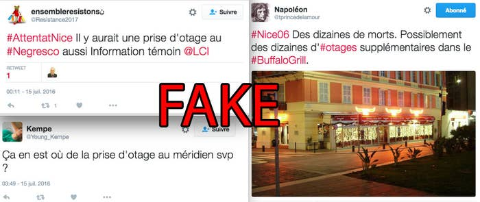 Several tweets from Thursday night mentioned a hostage situation in a Buffalo Grill restaurant, and in the Negresco and Le Méridien hotels. The French Interior Ministry responded in a tweet that there was no hostage situation.
