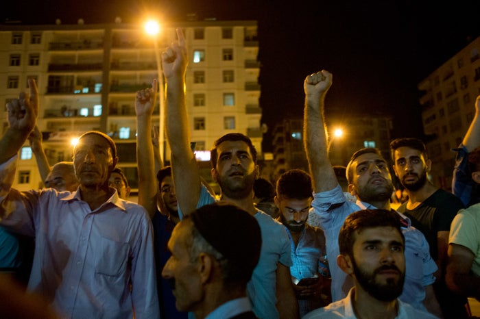 Residents in Diyarbakir came out on the streets against the coup on Friday night.