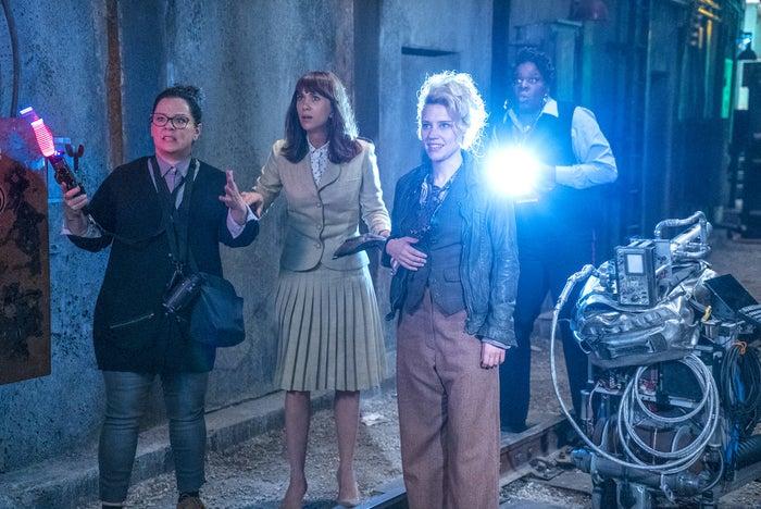 Melissa McCarthy, Kristen Wiig, Kate McKinnon, and Leslie Jones in Ghostbusters.