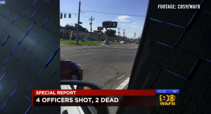 "Two videos were aired by WAFB. Three police officers were killed, and three others injured in what Baton Rouge's mayor has described as an ambush. A witness said the officers arrived at the scene after someone already opened fire. State Police said there were only two minutes between reports of a 911 call about a man with a gun and shots being fired at the officers. One suspect was killed. ""We believe the person that shot and killed our officers that he was the person that was shot and killed at the scene,"" State Police Col. State Mike Edmonson said."