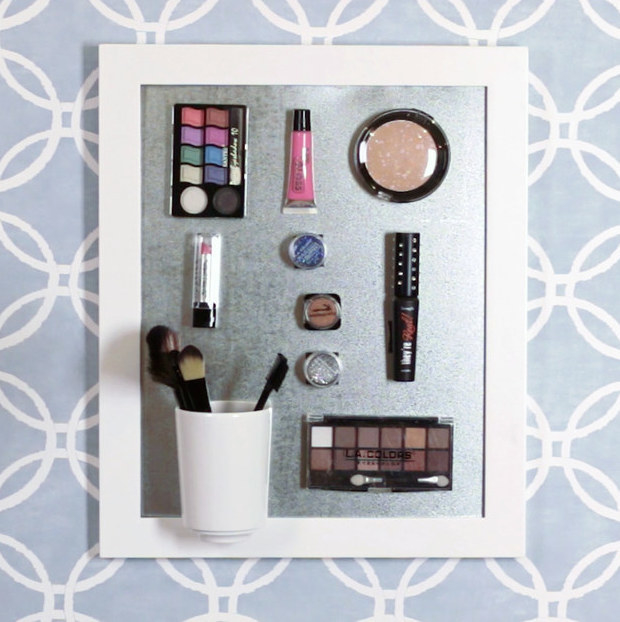 Make a magnetic makeup organizer to mount on your wall to make your morning routine fast and easy.