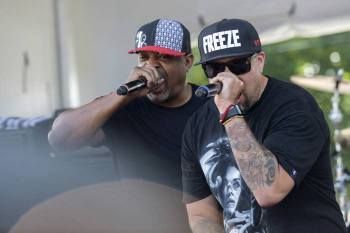 Chuck D and B-Real of Prophets of Rage perform before marching downtown to the Republican National Convention in Cleveland.