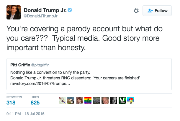 Dont Get Fooled By This Donald Trump Jr Parody Account