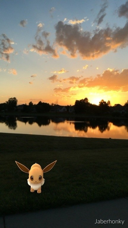 The sun sets behind Eevee as she wanders into the darkness.