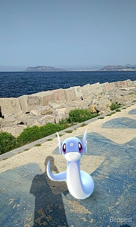 Dratini makes it to land after enjoying a day swimming the Mediterranean Sea.