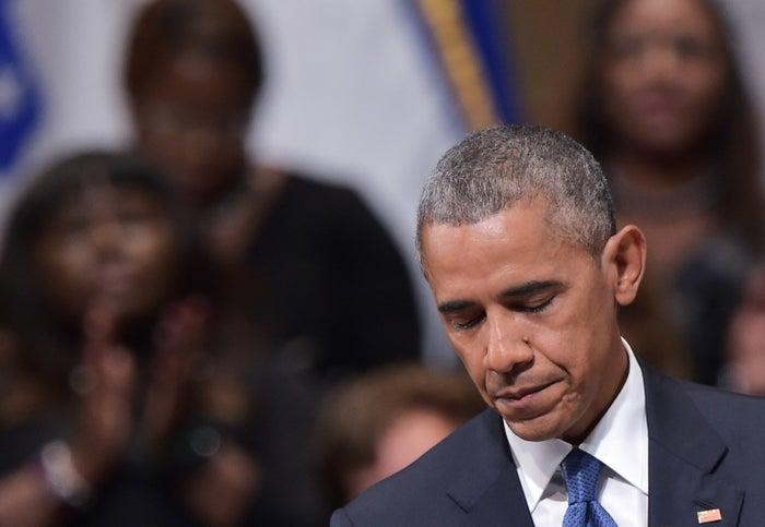 Obama speaking at the Dallas memorial service.