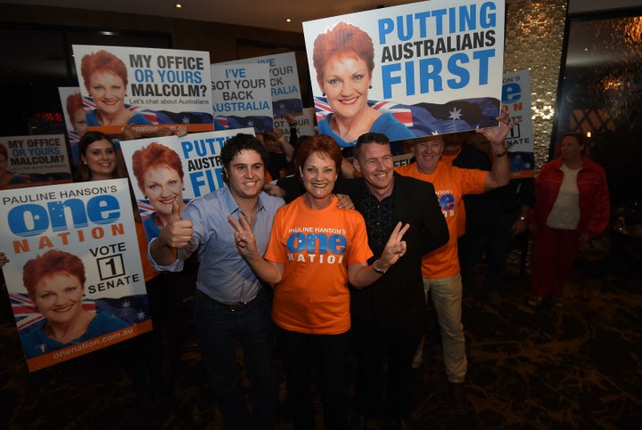 With Saturday's votes still being counted, One Nation had earned enough votes to secure Hanson a Senate seat representing Queensland once more.