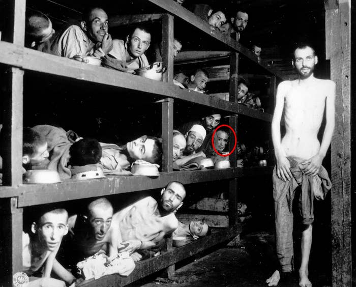 Elie Wiesel, circled in red, is shown on April 16, 1945 at the liberation of the Buchenwald camp by the U.S. Army.
