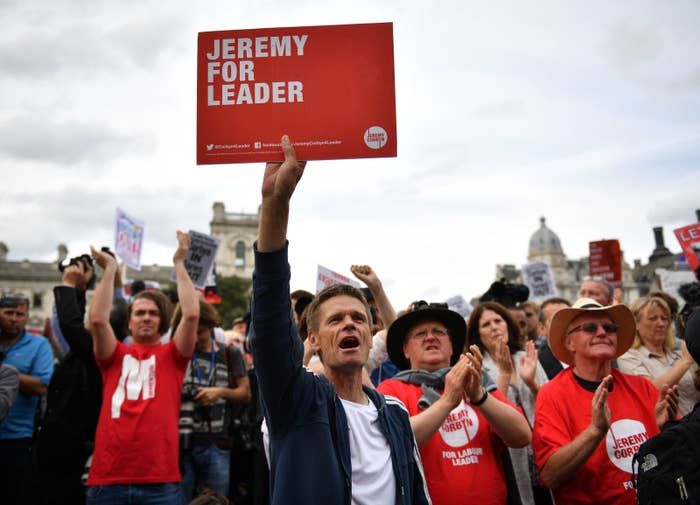 Jeremy for Leader and Momentum supporters at a rally.