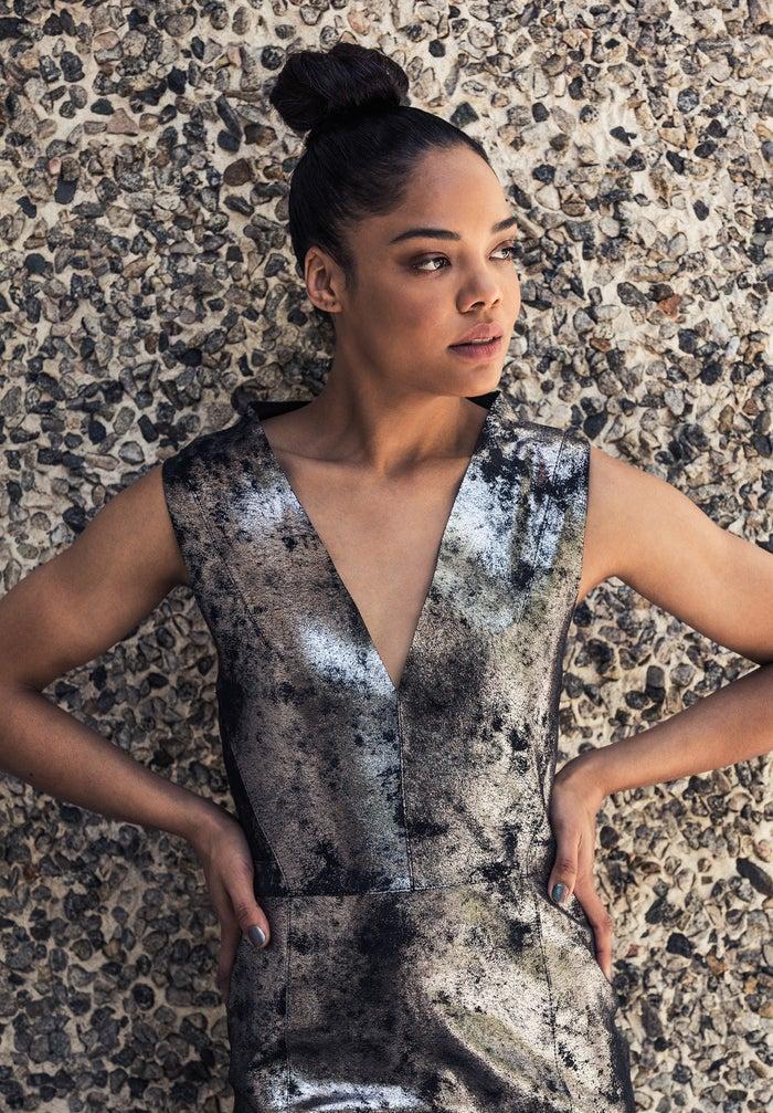 Photographed on April 12, 2016, in Beverly Hills.Gunmetal leather halter dress, Manokhi.