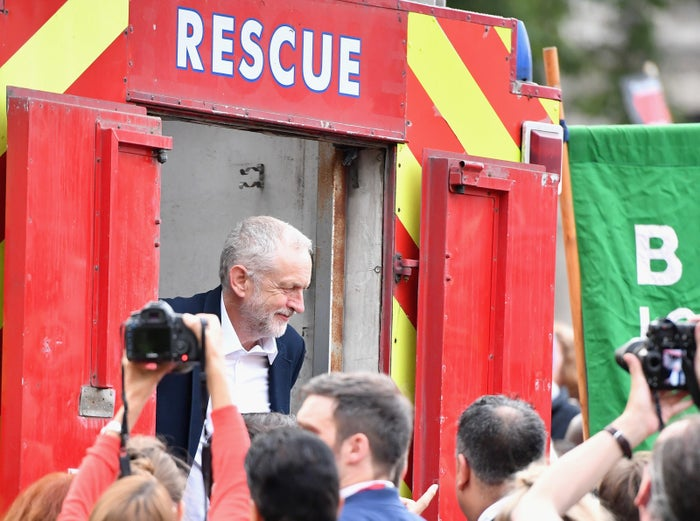 Jeremy Corbyn, pictured at a Momentum rally outside Parliament as MPs held a no-confidence ballot on his leadership.
