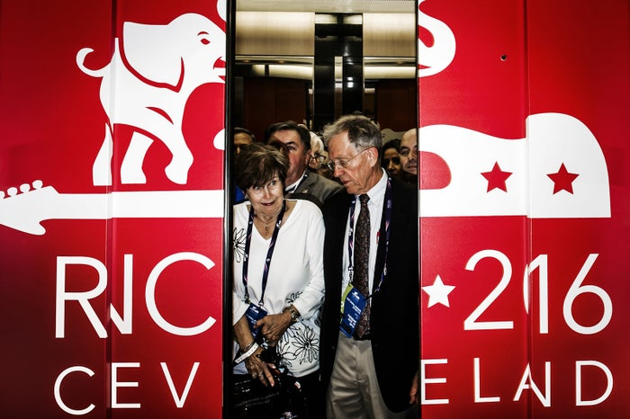 July 19, Delegates squeeze into the elevator going to the main floor of the RNC convention at the Quicken Arena.