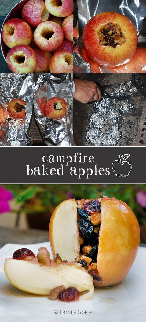 For a quick healthy snack, carve an apple, fill it with trail mix, and bake it on the fire.