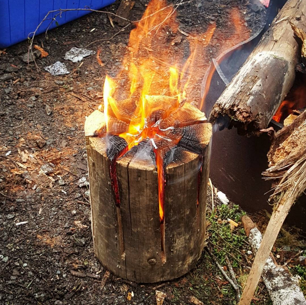 For your campfire, try the Swedish torch method: no need for extra pot supports + it looks cool.