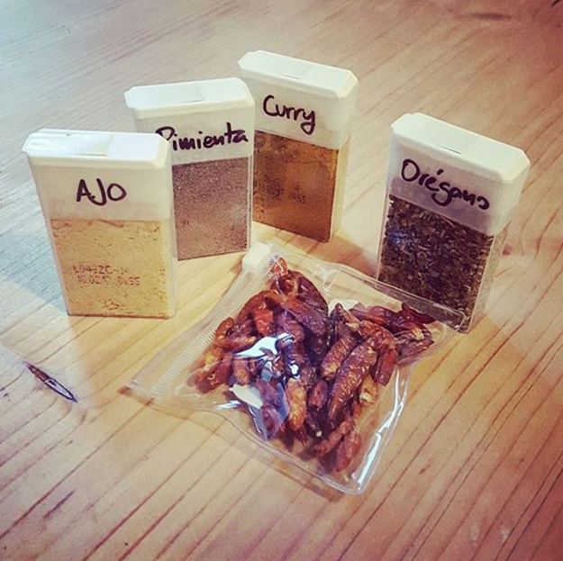 Store your spices in old Tic Tac boxes.