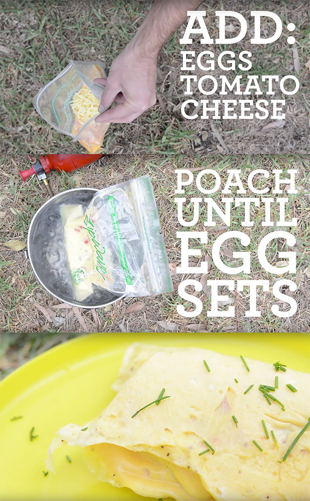 Make an omelet by boiling eggs in a ziplock bag.