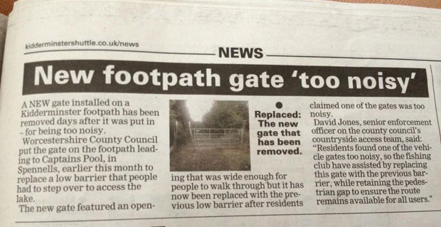 Or this? Why is the BBC not ensuring that this footpath has a gate that isn't so noisy?