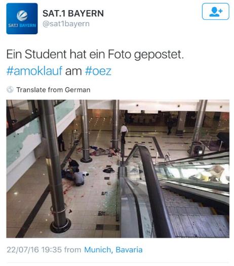 Dieses Foto, das mehrere Verletzte und Schüsse in München zeigen soll ist fake.