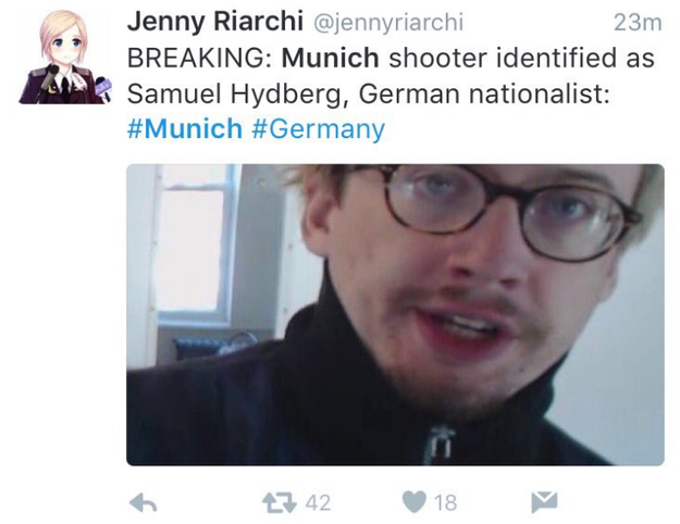 Some are sharing this man's photo and identifying him as someone named Samuel Hydberg who is the shooter. That is not his name, and he is not one of the suspects in Munich.