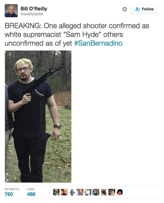 He is an American comedian named Sam Hyde and every time there is a mass shooting trolls on Twitter share his photo and say he is the culprit. It happened during the San Bernadino shootings: