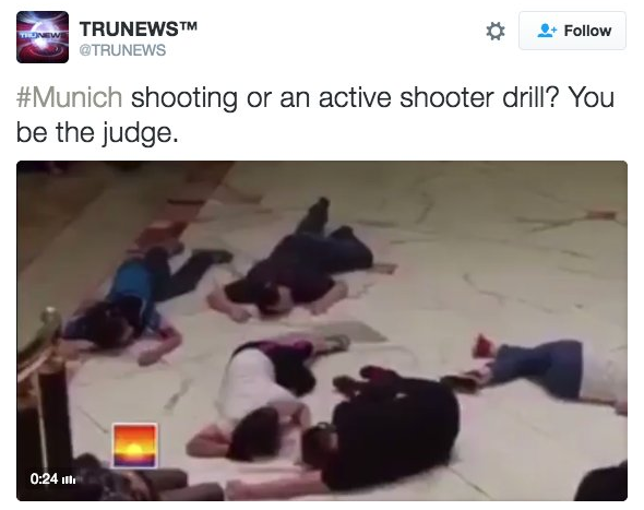 This photo allegedly shows showing people lying on the ground in Munich.