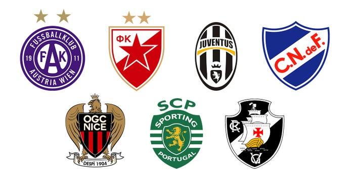 Áustria Viena (da Áustria), Estrela Vermelha (da antiga Iugoslávia, atual Sérvia), Juventus (da Itália), Nacional (do Uruguai), Nice (da França), Sporting (de Portugal) e Vasco da Gama.