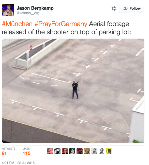 This photo is allegedly an aerial view of the Munich shooter.