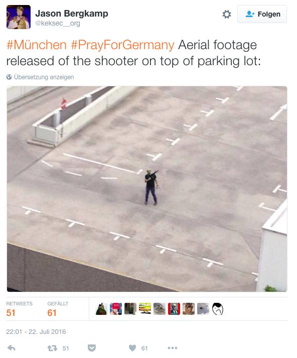 Dieser Tweet soll den Schützen auf dem Parkdach des OEZ zeigen.