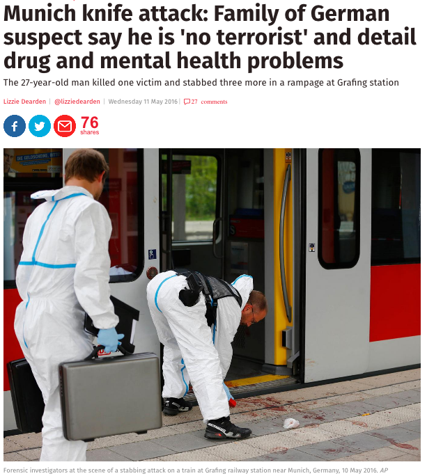 The photo is from Munich — but it was taken in May, after a man armed with a knife killed one person and injured three others.