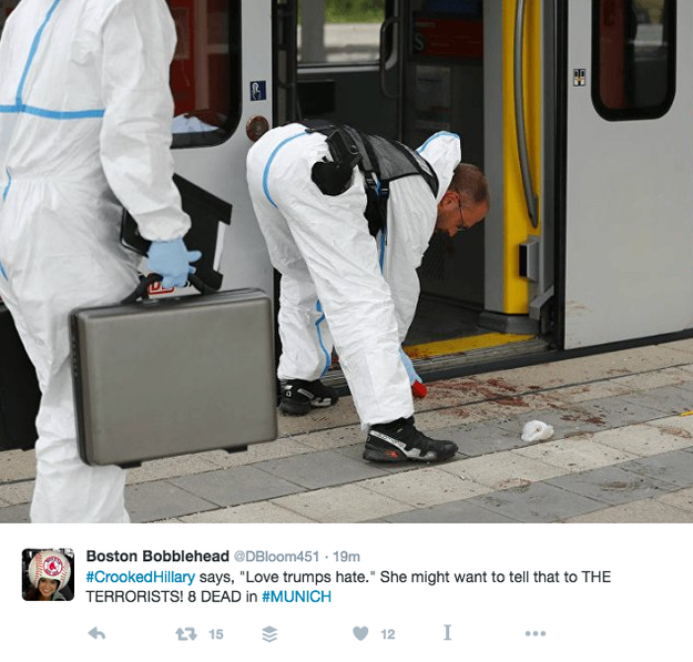 This photo of crime scene technicians was one in a series of images shared by a Twitter user in a tweet about Munich.