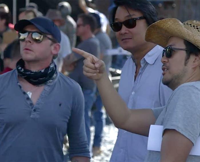 Simon Pegg, Doug Jung, and Justin Lin on the set of Star Trek Beyond.