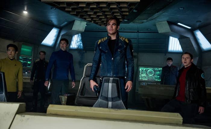 John Cho, Anton Yelchin, Karl Urban, Chris Pine, Zachary Quinto, and Simon Pegg in Star Trek Beyond.