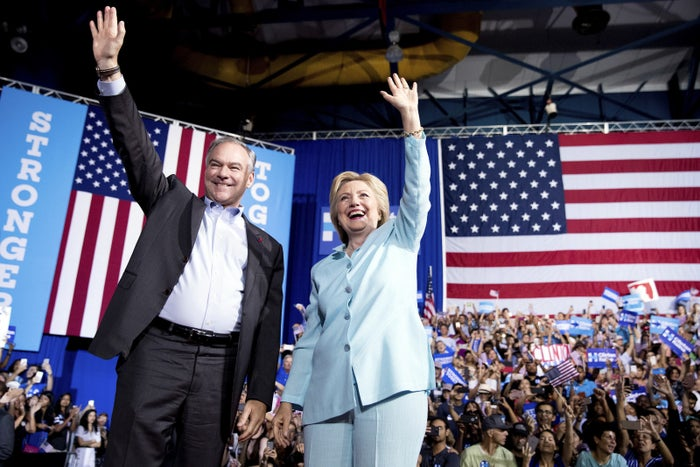 Kaine and Clinton campaigning in Miami on Saturday.